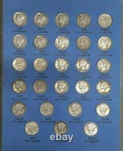 1916-1945 Nearly Complete Mercury Dime Collection (No-16D) in Whitman Folder