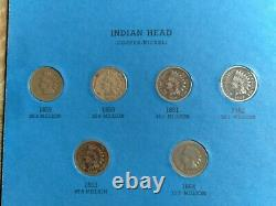 56 Coin INDIAN HEAD CENT COLLECTION NEARLY COMPLETE 1857-1909 Most Good Better