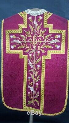 Antique red chasuble near complete set mint condition