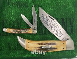 Case xx Complete 8 Knife Blue Scroll Set 1977 Unused Near Mint Solid And Tight