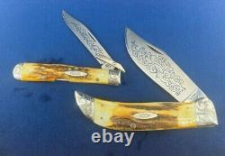 Case xx complete SCROLLED BLUE SCROLL SET knife 1977 very clean solid near mint
