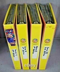 Huge Lot Ty Beanie Babies 4 Binders Clear Orig 9 Sets Series 1-4 Near Complete