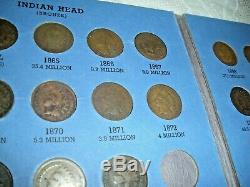 Indian Head Cent Collection 1856 to 1909 Near Complete Only Missing two