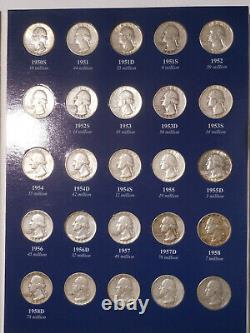 Near Complete Set Washington 90% Silver Quarters 1932 -1960 Collection