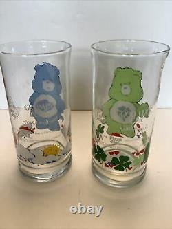 Vintage Care Bears Glasses complete set of 6 1980s Pizza Hut Near Mint