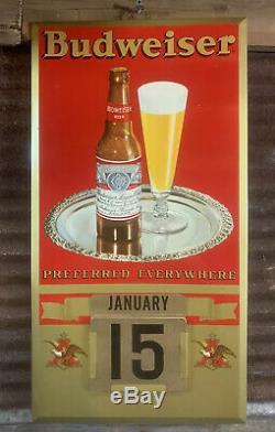 Vtg 30s-40s Budweiser Beer Calendar Complete TOC JEMS Advertising Sign NEAR MINT